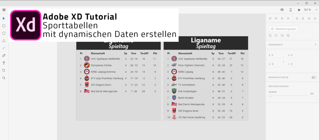 Adobe XD - Tabellen