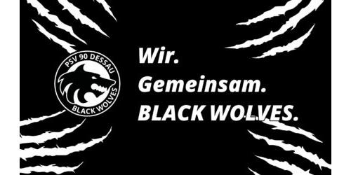 Desktop Hintergrund - Black Wolves mit Spruch
