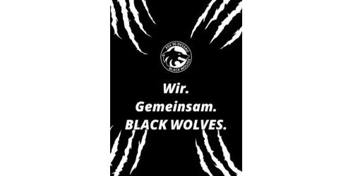Mobil Hintergrund - Black Wolves mit Spruch (3:4)