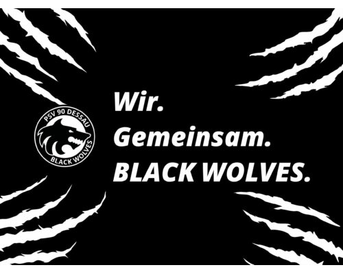 Mobil Hintergrund – Black Wolves mit Spruch (4:3)