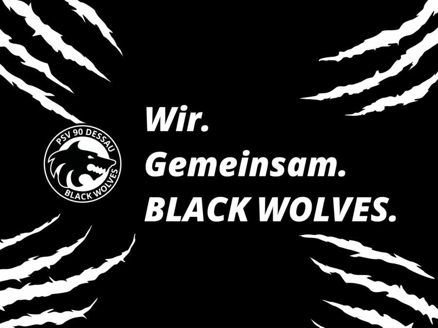 Mobil Hintergrund - Black Wolves mit Spruch (4:3)